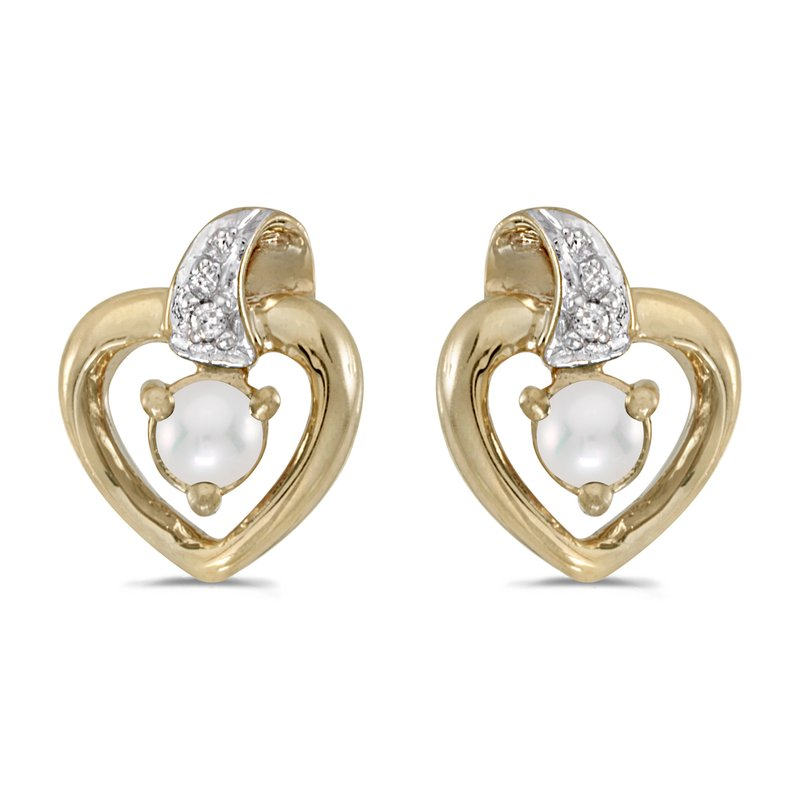 Color Merchants 14k Yellow Gold Freshwater Cultured Pearl And Diamond Heart Earrings