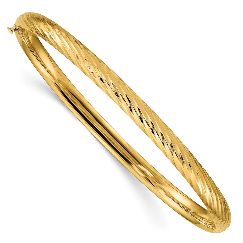 J.F. Kruse Signature Collection 14k 3/16 Textured Hinged Bangle