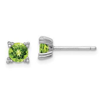 Sterling Silver Rhodium-platedRound 5mm Peridot Post Earrings