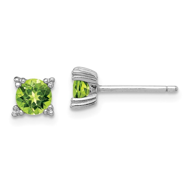 Quality Gold Sterling Silver Rhodium-platedRound 5mm Peridot Post Earrings