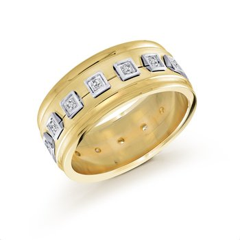 10mm two-tone yellow gold base, white gold accents concave band, embelished with 16X0.015CT diamonds
