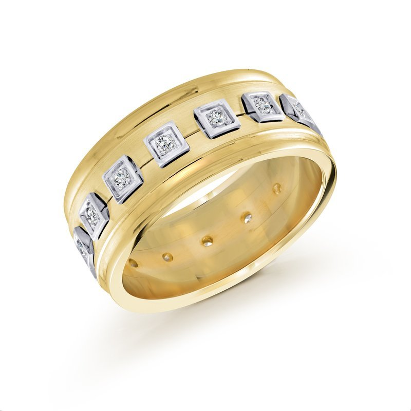 Mardini 10mm two-tone yellow gold base, white gold accents concave band, embelished with 16X0.015CT diamonds