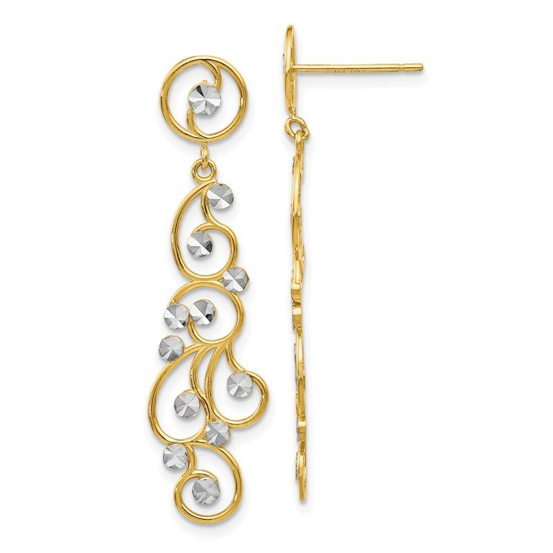 Quality Gold 14k and Rhodium Filigree Dangle Earrings