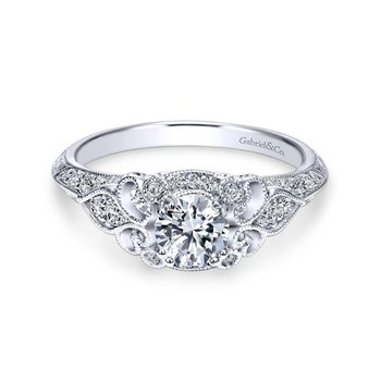 14k White Gold Filgree Round Diamond Halo Engagement Ring