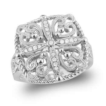 14K Gold Filigree and Diamond Ring