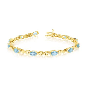 10K Yellow Gold Oval Aquamarine and Diamond Bracelet