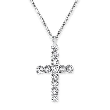 Diamond Cross Necklace in 14K White Gold with 11 diamonds weighing .44ct tw