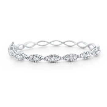 Diamond Marquise Twist Bangle Set in 14 Kt. Gold