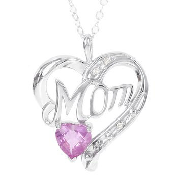 Sterling Silver Created Pink Sapphire and Diamond Accent Mom Pendant