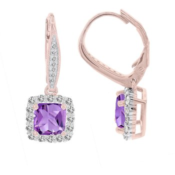 14k Rose Gold Princess-cut Amethyst and 1/2ct Diamond Earrings