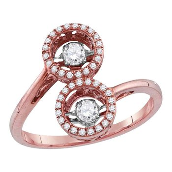 10kt Rose Gold Womens Round Diamond Moving Twinkle Bypass Cluster Ring 1/2 Cttw