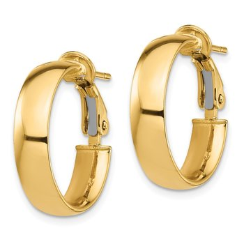 14k High Polished 5mm Omega Back Hoop Earrings