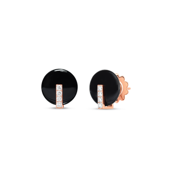 18Kt Gold Disc Earrings With Diamonds And Black Jade
