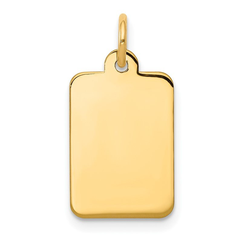 Quality Gold 14k Plain .027 Gauge Rectangular Engravable Disc Charm