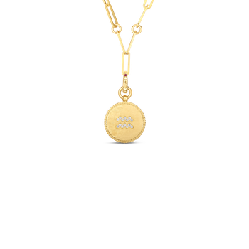 18K DIAMOND AQUARIUS ZODIAC MEDALLION PENDANT W. COIN EDGE ON PAPER CLIP CHAIN