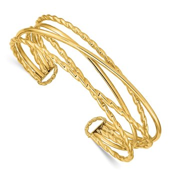 14k Polished Multi Tube Cuff Bangle