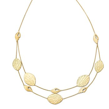Leslie's 14k Brushed and Textured Necklace w/2in ext