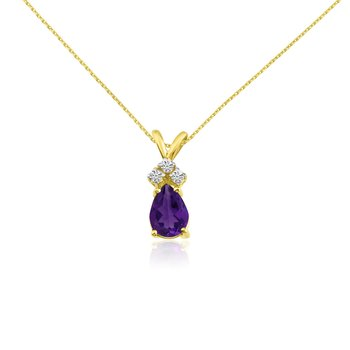 14k Yellow Gold 7X5 Amethyst  Pear Pendant with Diamonds