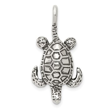 Sterling Silver Antiqued Sea Turtle Pendant