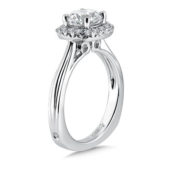 Cushion-Shape Halo Engagement Ring in 14K White Gold with Platinum Head (1-1/4ct. tw.)