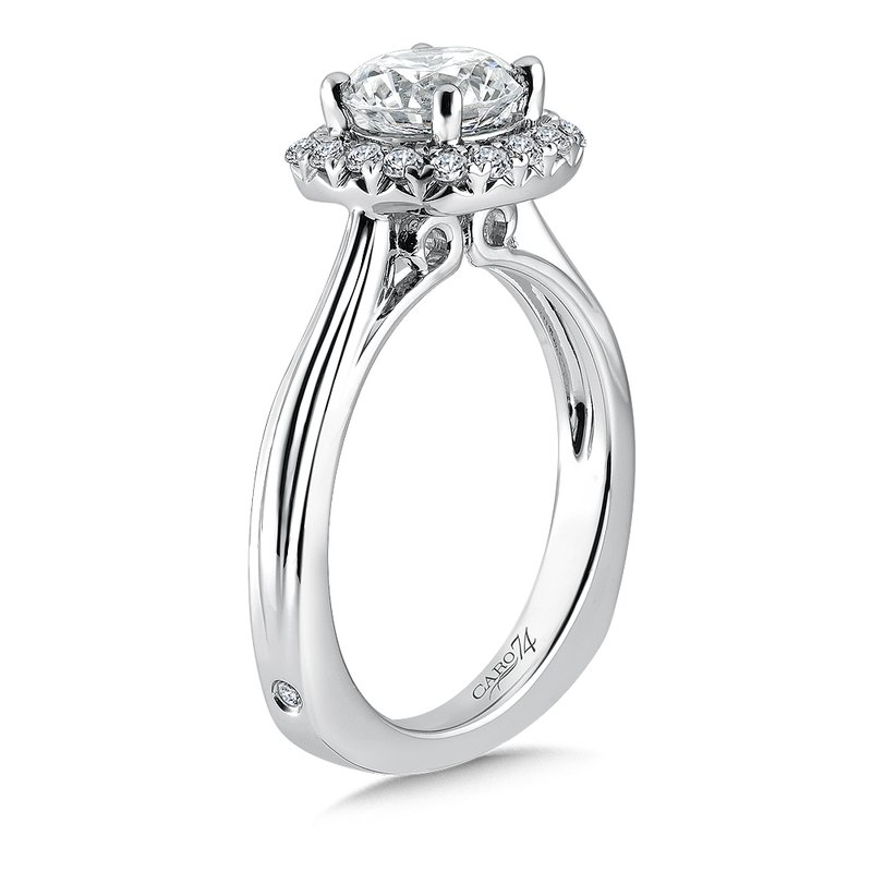 Caro74 Cushion-Shape Halo Engagement Ring in 14K White Gold with Platinum Head (1-1/4ct. tw.)