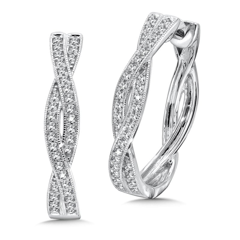 SDC Creations Pave set Diamond Twisted Hoops in 14k White Gold (1/2 ct. tw.) JK/I1