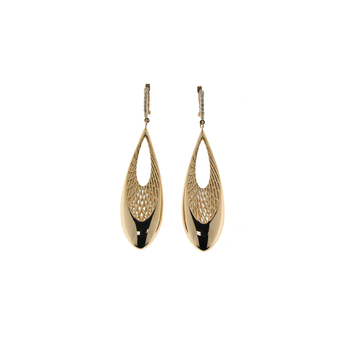 18Kt Yellow And White Gold Drop Earrings With Diamonds