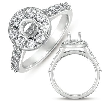 White Gold Halo Ring 1/2 round head