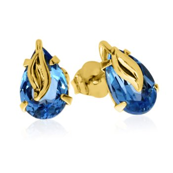 14k Yellow Gold Pear Shaped Amythest Earrings