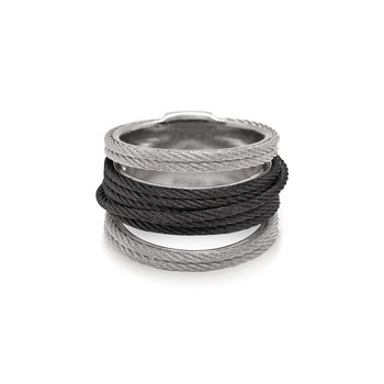 Grey & Black Cable Simple Stack Ring