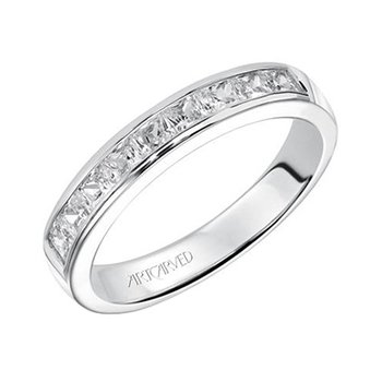 14K White Gold Princess Channel Wedding Band