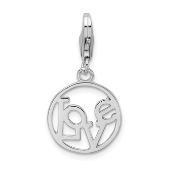 SS Rhodium-Plated Polished LOVE in Circle w/Lobster Clasp Charm