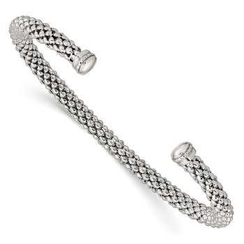 Sterling Silver Beaded Textured Cuff Bracelet