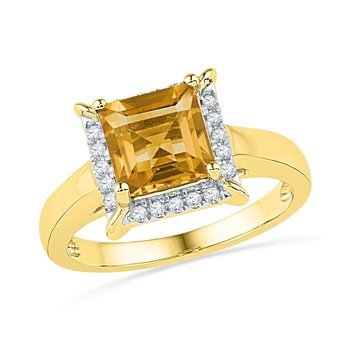 10kt Yellow Gold Womens Cushion Lab-Created Citrine Solitaire Diamond Frame Ring 1-7/8 Cttw