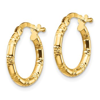 14K 2x15mm Diamond-cut Hoop Earrings