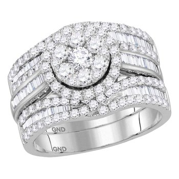 14kt White Gold Womens Round Diamond Cluster Bridal Wedding Engagement Ring Band 3-Piece Set 2.00 Cttw