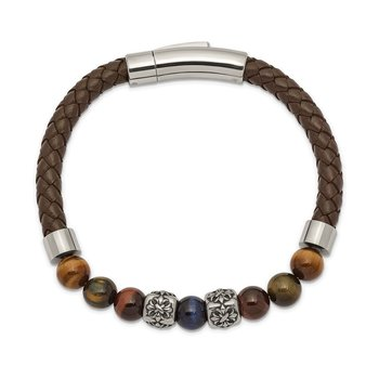 Stainless Steel Antiqued & Polished MultiColor Tiger's Eye Leather Bracelet