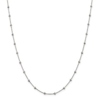 Sterling Silver 1.15mm Diamond-cut Fancy Beaded Chain