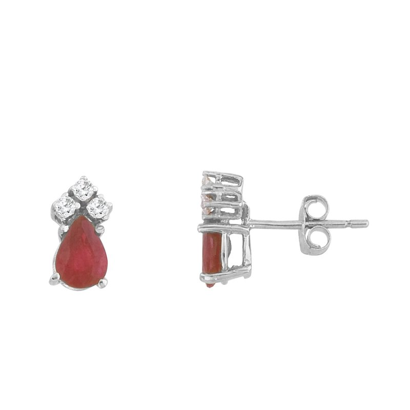 Color Merchants 14k White Gold Ruby And Diamond Pear Shaped Earrings