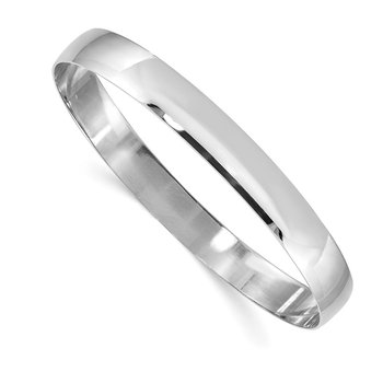 14k White Gold 8mm Solid Polished Half-Round Slip-On Bangle