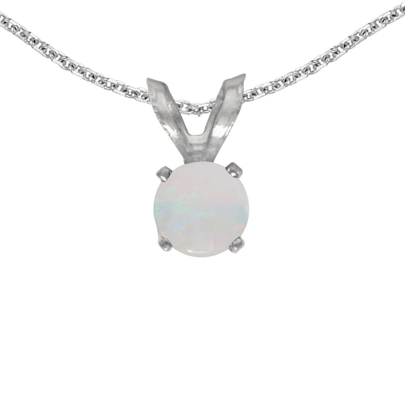 Color Merchants 14k White Gold Round Opal Pendant