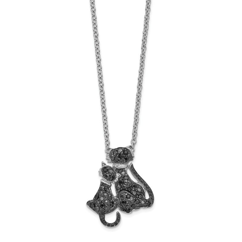 Cheryl M Cheryl M Sterling Silver Black Rhodium Plated CZ Cats 18in Necklace
