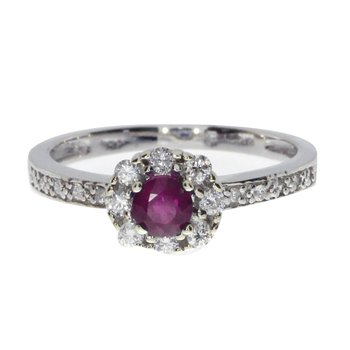 14k White Gold Ruby and .21 ct Diamond Swirl Ring
