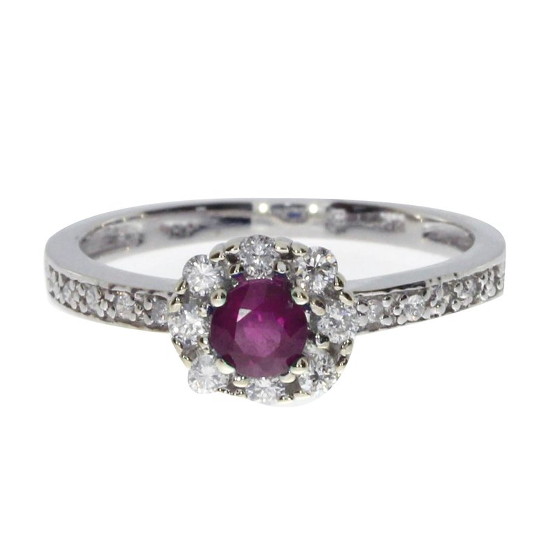 Color Merchants 14k White Gold Ruby and .21 ct Diamond Swirl Ring