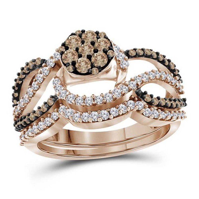 Gold-N-Diamonds, Inc. (Atlanta) 10kt Rose Gold Womens Round Brown Color Enhanced Diamond Cluster Bridal Wedding Engagement Ring Band Set 1.00 Cttw