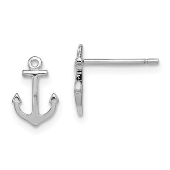 Sterling Silver Rhodium-plated Anchor Post Earrings