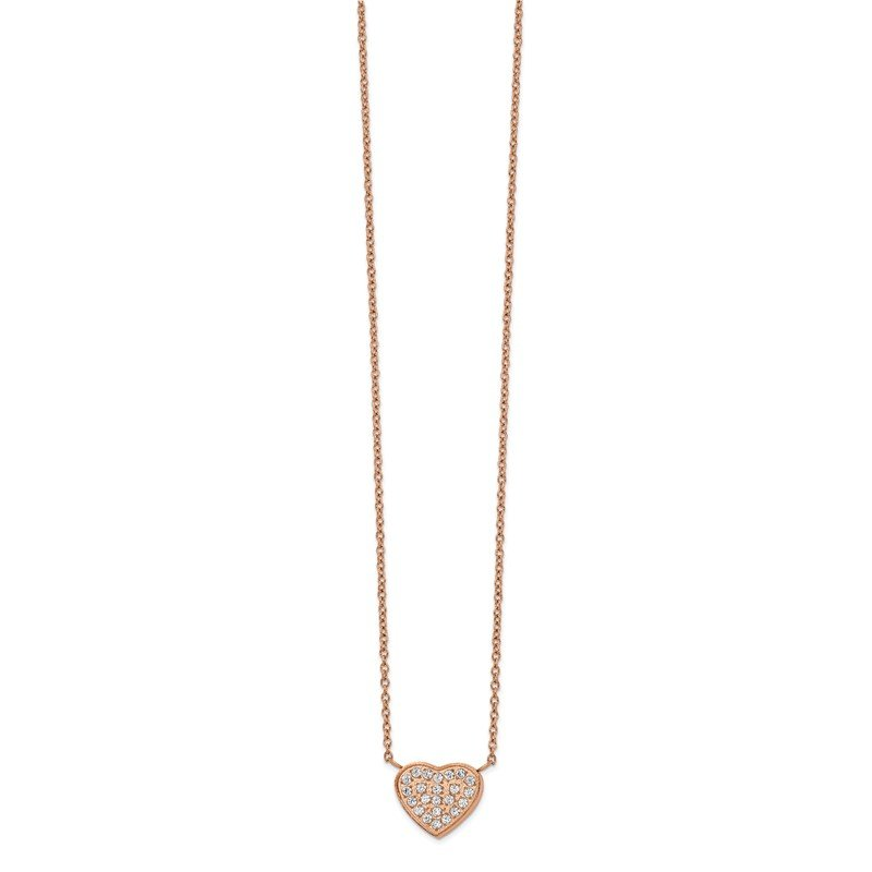 Chisel Stainless Steel Polished Rose IP CZ Heart 17.25in w/1in ext Necklace