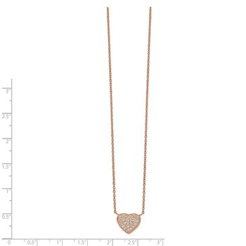 Stainless Steel Polished Rose IP CZ Heart 17.25in w/1in ext Necklace