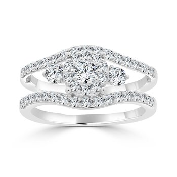 14 KT White gold with 1/5 Center Engagement ring (1.10 CTW)