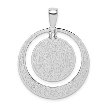 Sterling Silver Rhodium-plated Textured Disc in Circle Pendant